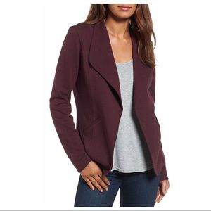 Caslon maroon open front cotton knit blazer, XS